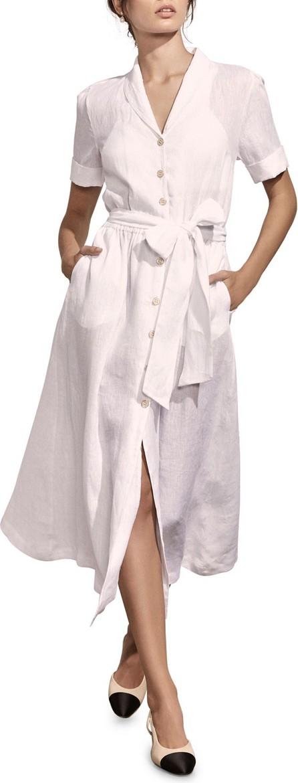Amaiò Swim Kamille Button-Down Short-Sleeve Linen Shirtdress