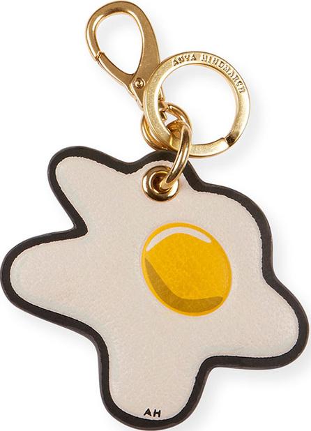 Anya Hindmarch Egg Leather Keychain, White/Multi