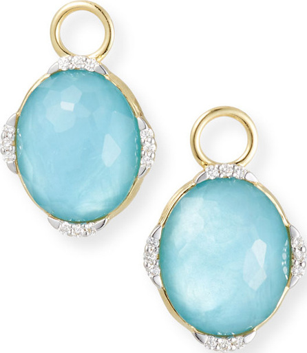 Jude Frances 18k Lisse Oval Earring Charms, Blue Triplet