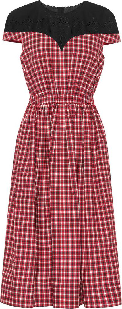Fendi Checked cotton midi dress