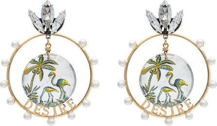 Anton Heunis Gold metallic, white and green desire swarovski crystal earrings
