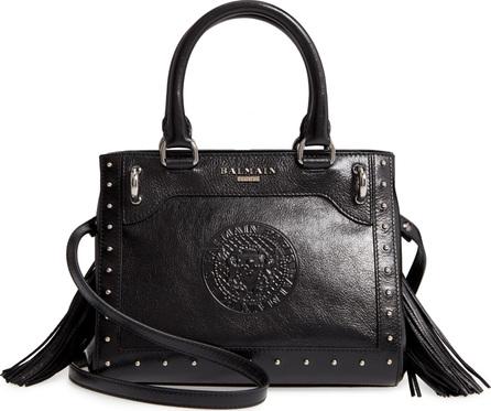 Balmain Mini Logo Calfskin Leather Top Handle Satchel