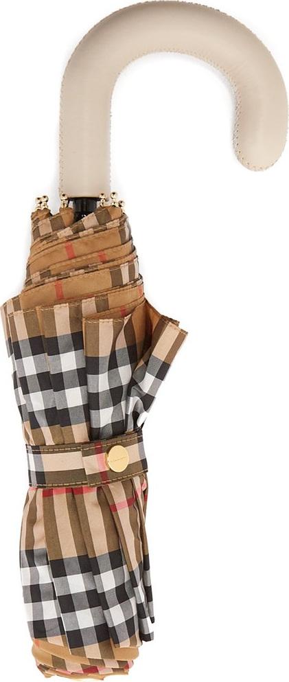 2a9948fd7ae Burberry London England Vintage-check folding umbrella. This beige