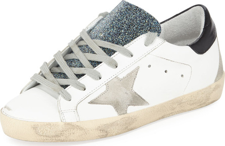 Golden Goose Deluxe Brand Superstar Leather Low-Top Sneakers with Glitter Tongue