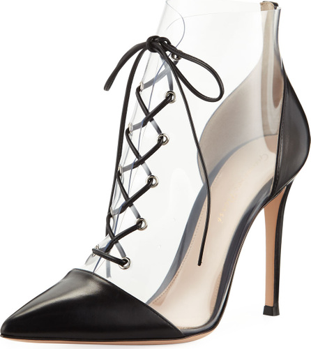 Gianvito Rossi Leather and Clear PVC Lace-Up Booties