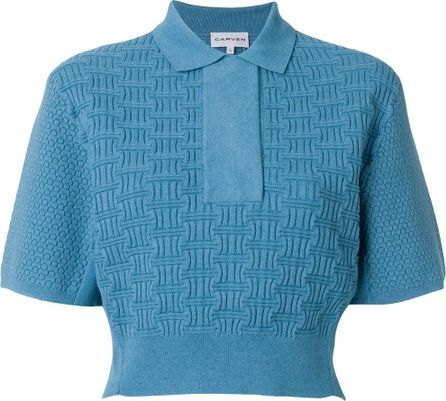 Carven Patterned knit polo shirt