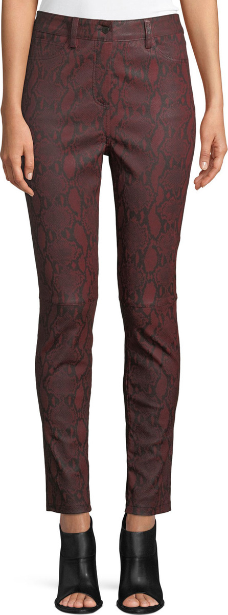 A.L.C. Turner Snake-Print Leather Skinny Pants
