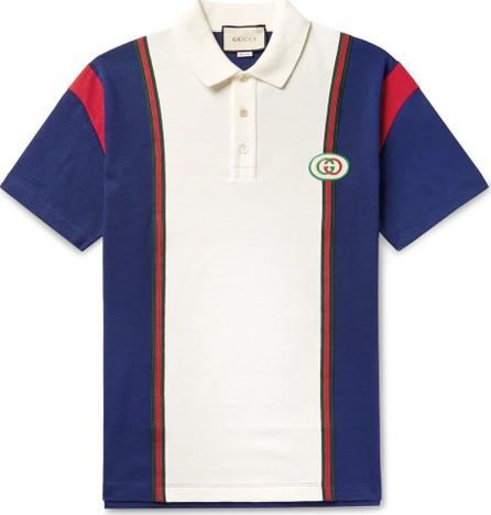 Gucci Logo-Appliquéd Webbing-Trimmed Cotton-Jersey Polo Shirt