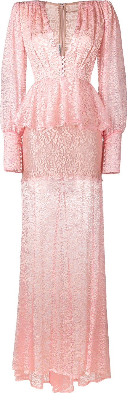 Alessandra Rich sheer lace long sleeve dress