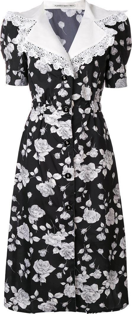 Alessandra Rich Floral wide embellished collar dress