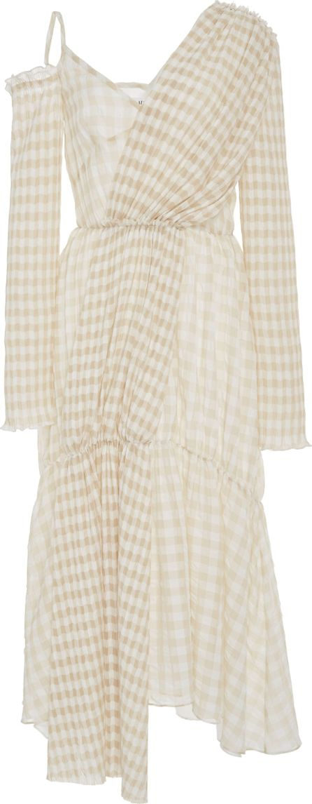 ADEAM Ruched Gingham Asymmetrical Dress