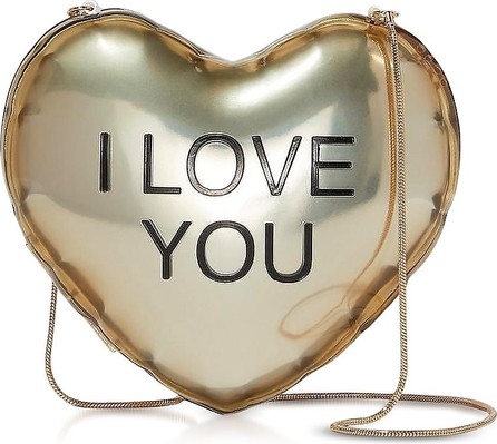 MARC JACOBS The Balloon Minaudiere Gold Plastic Heart Clutch