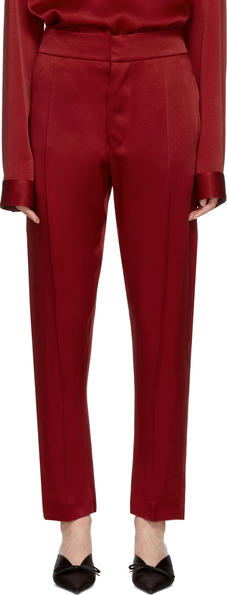 Haider Ackermann Red Shiny Kuiper Casual Trousers