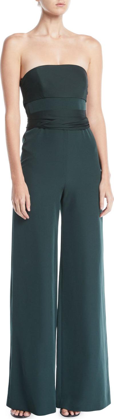 MILLY Brooke Strapless Sash-Waist Wide-Leg Italian-Cady Jumpsuit