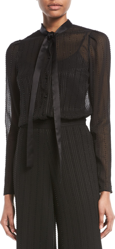 Alexis Taissa Sheer Striped Embellished Tie-Neck Top