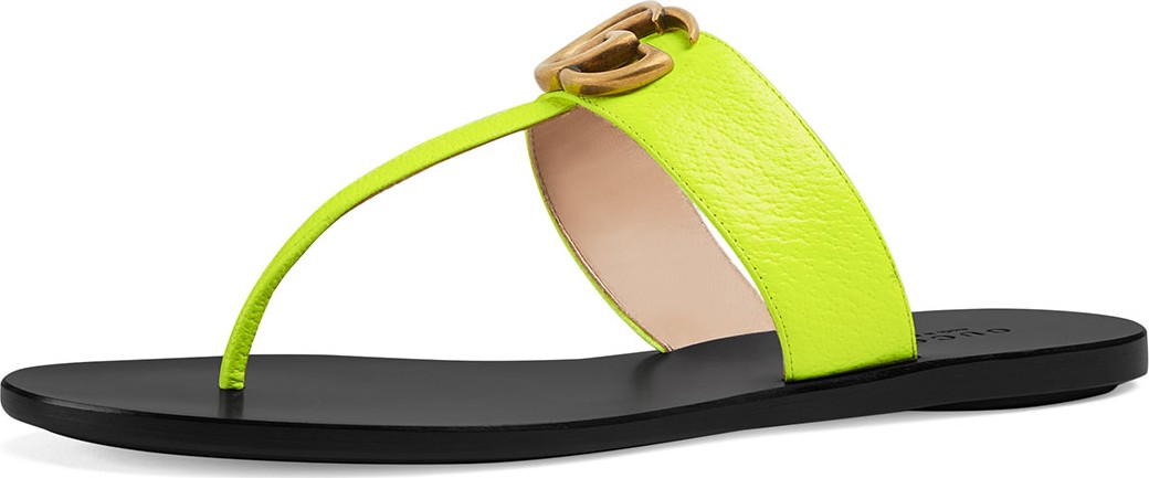 ec448810dd92 Gucci Flat Neon Leather Thong Sandals in Yellow - mkt