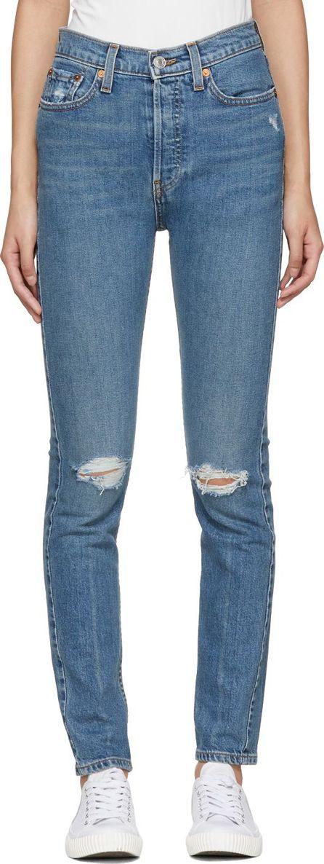 RE/DONE Blue Originals High-Rise Stretch Jeans