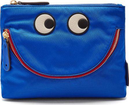 Anya Hindmarch Happy eyes smiley nylon pouch