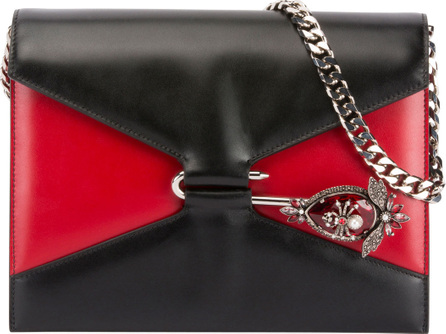 Alexander McQueen Pin Two-Tone Leather Shoulder Bag