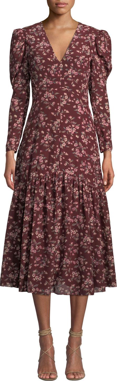 Rebecca Taylor Tilda Puff-Sleeve Floral Midi Dress