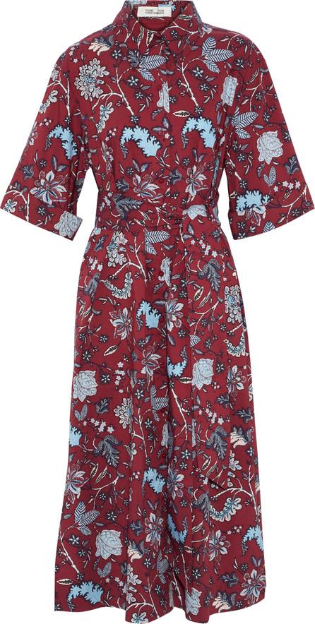 DIANE von FURSTENBERG Floral-print cotton-blend poplin midi shirt dress