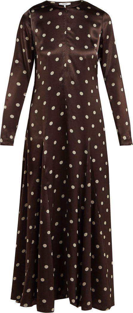 Ganni Cameron polka-dot satin maxi dress