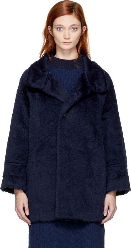 Blue Blue Japan Navy Faux-Fur Coat