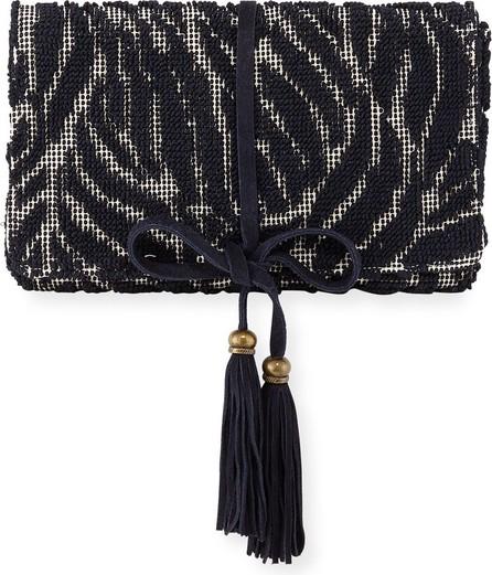 Casa Isota Barbara Tassel Fabric Clutch Bag, Navy