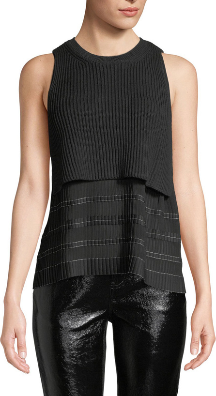 Derek Lam 10 Crosby Cropped Knit Top with Pleated Cami