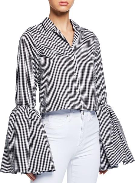 Anaïs Jourden Cropped Bell-Sleeve Gingham Button-Up Top