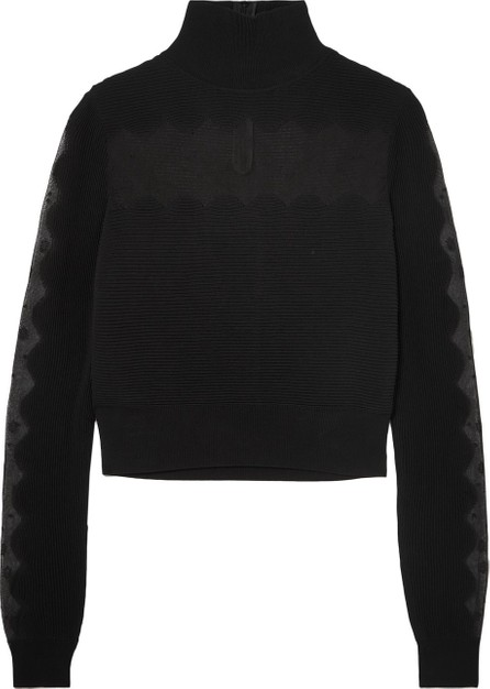 Alexander McQueen Lace-paneled ribbed-knit turtleneck sweater