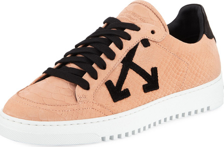 Off White Carryover Snake-Print Leather Lace-Up Sneakers