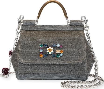 Dolce & Gabbana Sicily Mini Notturno Glitter Fabric Top-Handle Bag