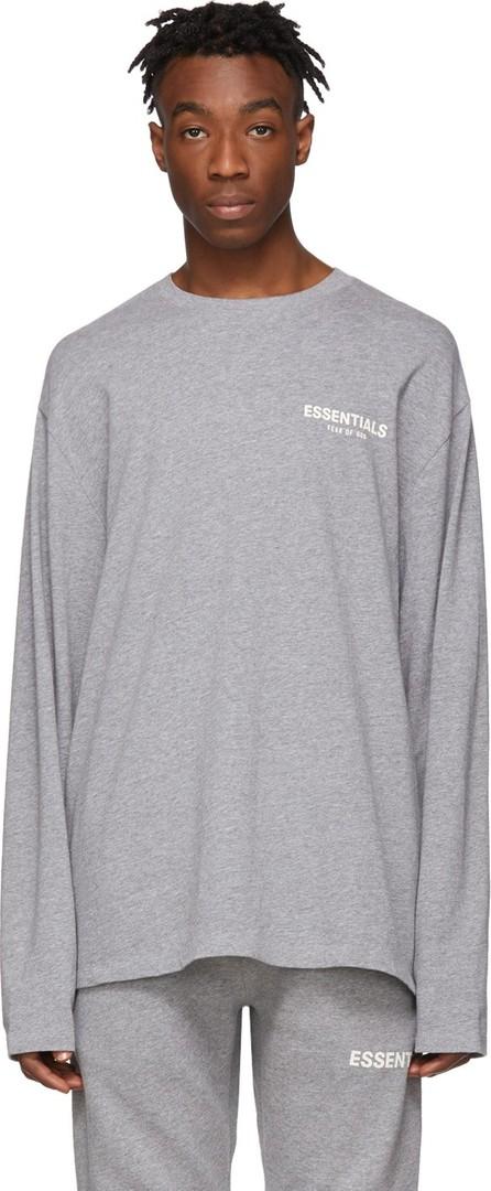 Essentials Grey Logo Long Sleeve T-Shirt