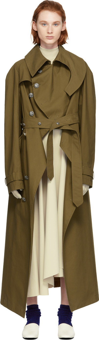A.W.A.K.E Brown Oiled Cotton Trench Coat
