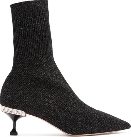 Miu Miu Metallic ribbed-knit sock ankle boots