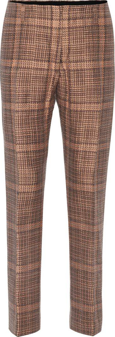 Dries Van Noten Plaid cotton-blend trousers
