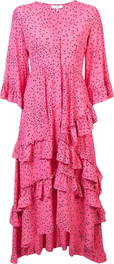 Ganni Printed ruffled maxi dress