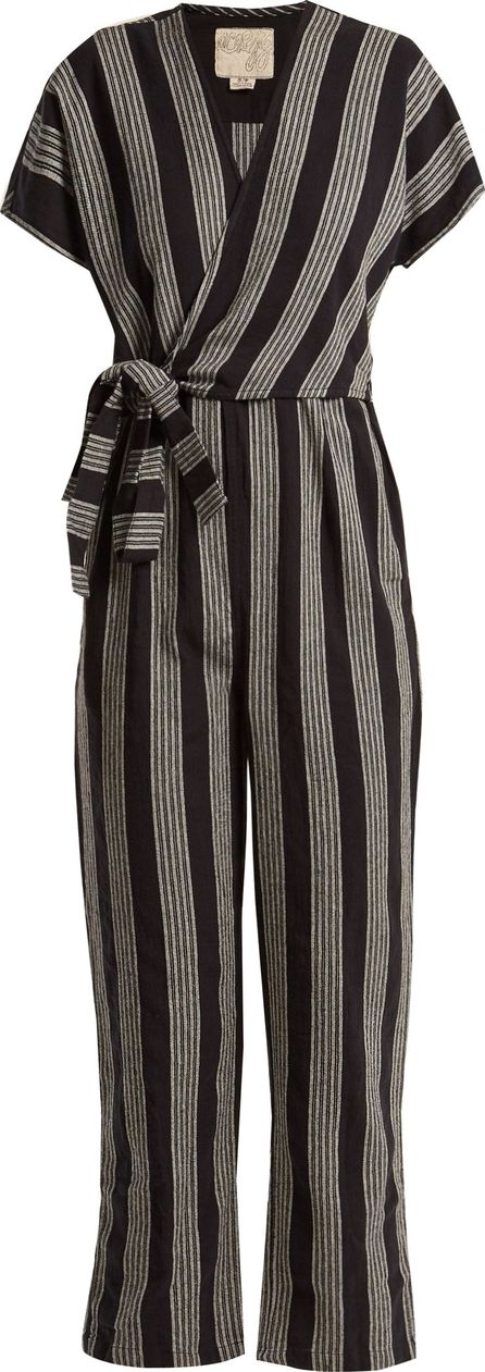 ace&jig Striped V-neck wrap cotton jumpsuit
