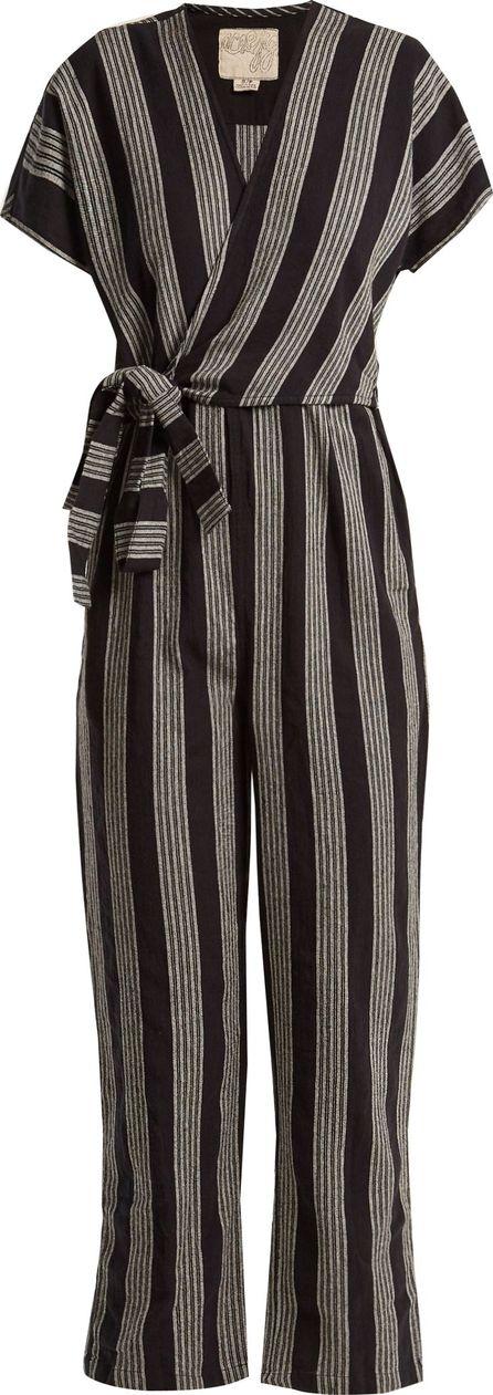 ace&jig Striped V-neck wrap cotton jumpsuit