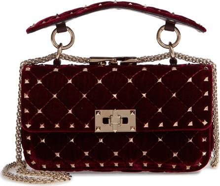 Valentino Rockstud Matelassé Velvet Small Shoulder Bag