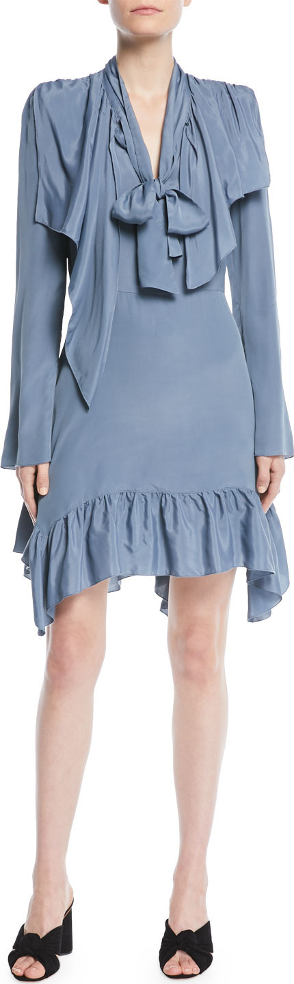 See By Chloé Ruffle Tie-Neck Long-Sleeve Short Dress