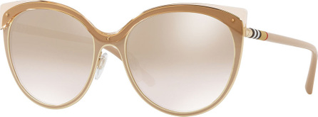 Burberry London England Mirrored Cat-Eye Metal Sunglasses