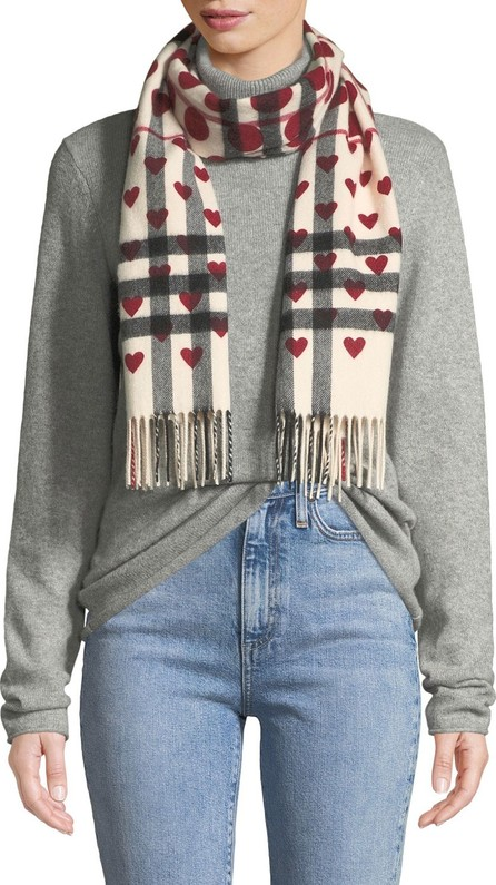 Burberry London England Heart-Print Giant Check Cashmere Scarf