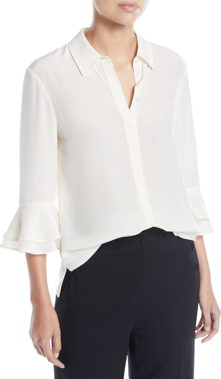 Tory Burch Monica Ruffle-Sleeve Silk Top