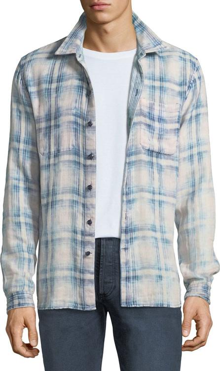 John Varvatos Men's Reversible Plaid/Pinstripe Sport Shirt