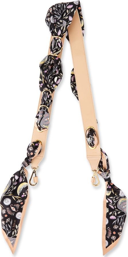 Chloe Silk & Leather Artistic Print  Shoulder Strap For Handbag