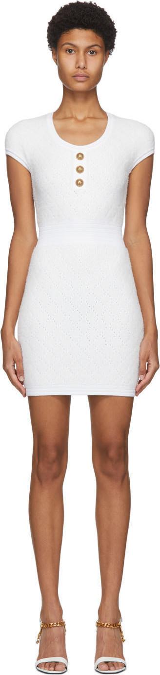 Balmain Off-White Fluffy Diamond Cap Sleeve Dress