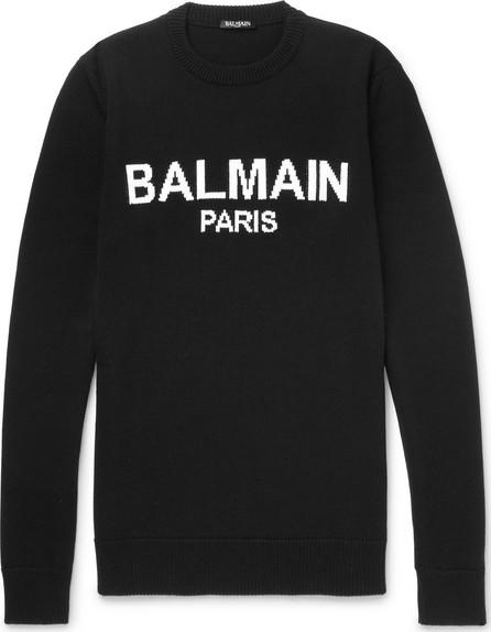 Balmain Logo-Intarsia Virgin Wool Sweater