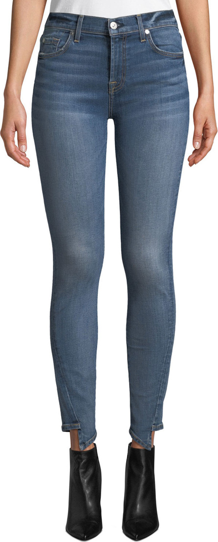 7 For All Mankind Mid-Rise Ankle Skinny Jeans with Step Hem